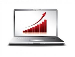 Bild som visar en uppåtgående kurva i en dator
