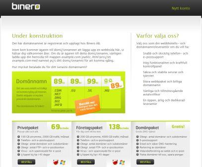 Kopia av en under konstruktionssida hos Binero