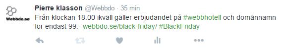 Twitter inlägg om Black Friday